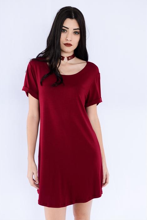 Camiseta Vestido Bordô