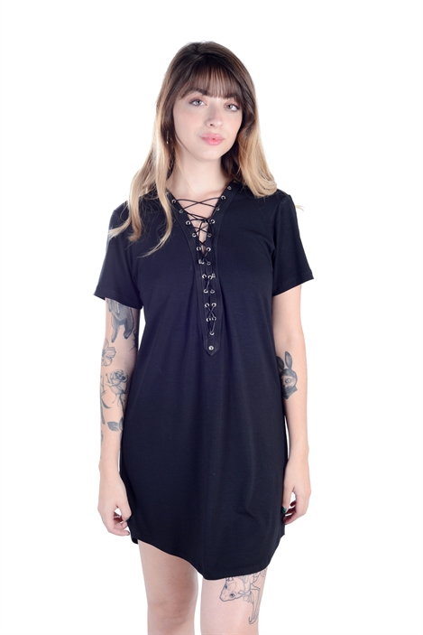 Camiseta Vestido Ilhós Preto